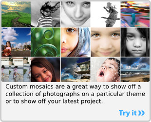 Mosaic Maker: Mosaic images are a great way to display a collection of photographs on a theme or to show off that last project of yours.